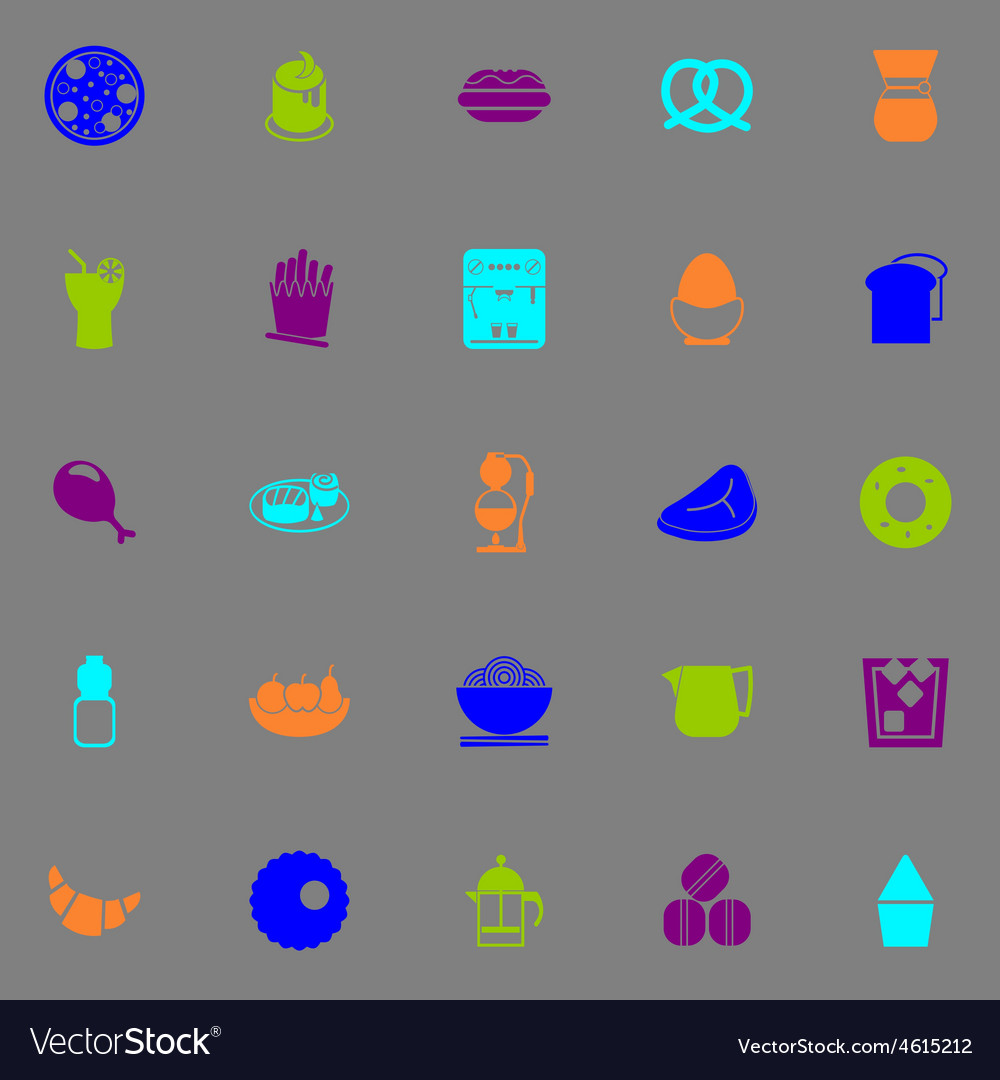 Easy meal icons fluorescent color on gray vector | Price: 1 Credit (USD $1)
