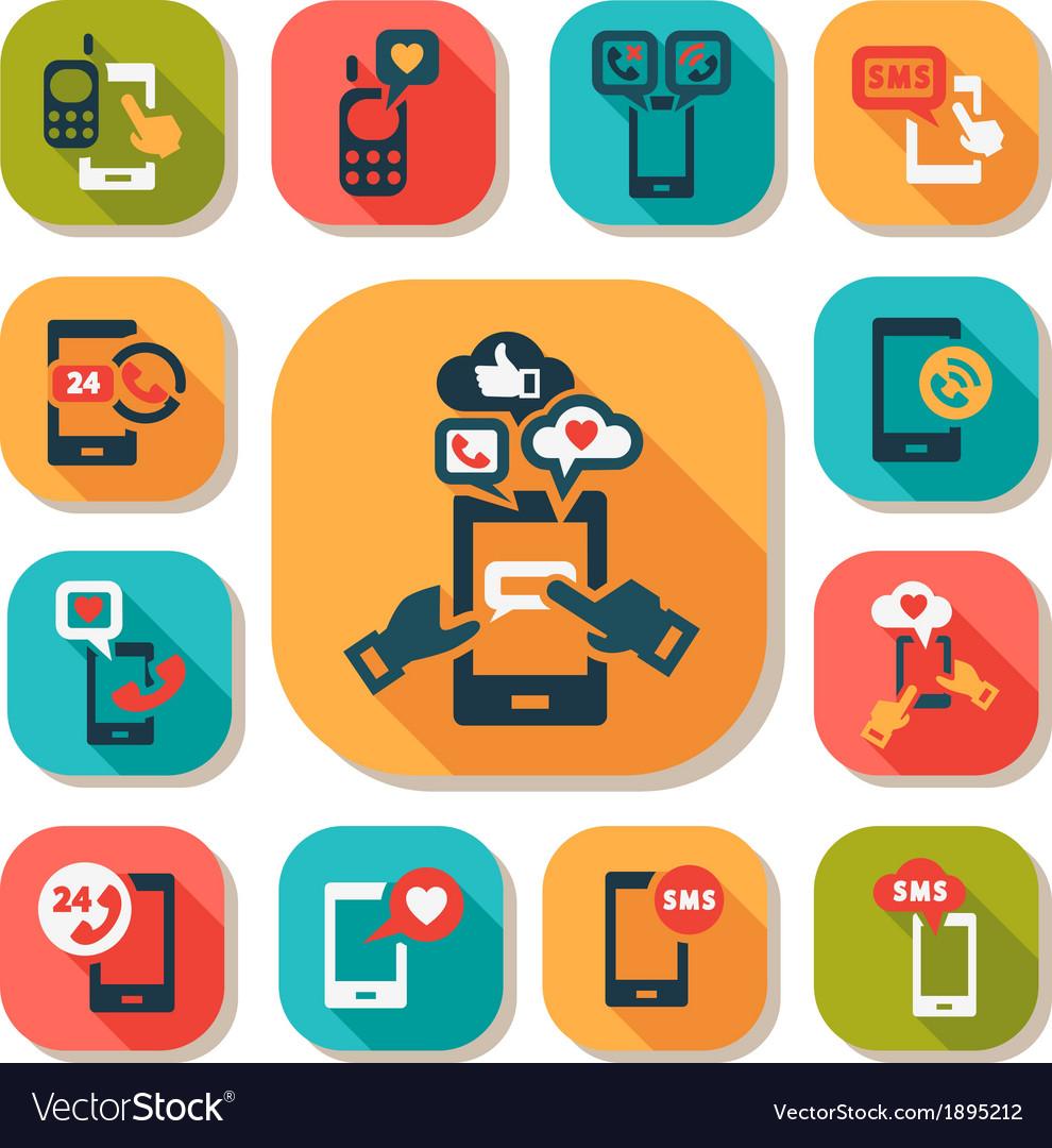 Flat phone icons set vector   Price: 1 Credit (USD $1)