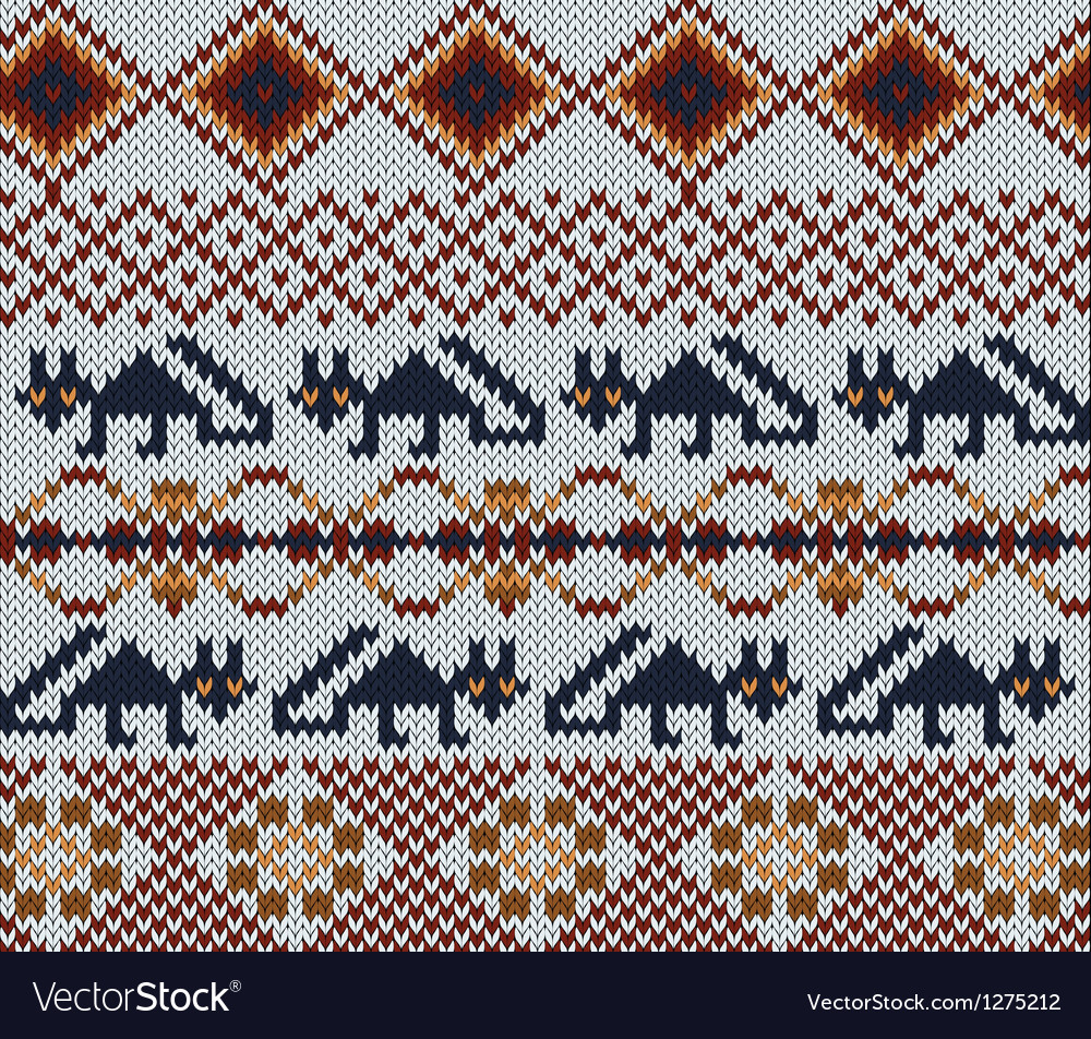 Knitted swatch in folk style with stylized foxes vector | Price: 1 Credit (USD $1)