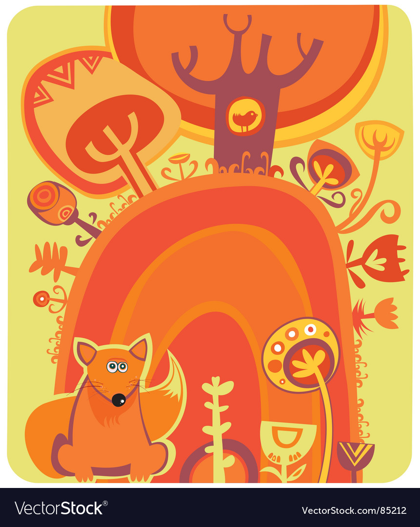 Magical autumn forest vector | Price: 1 Credit (USD $1)