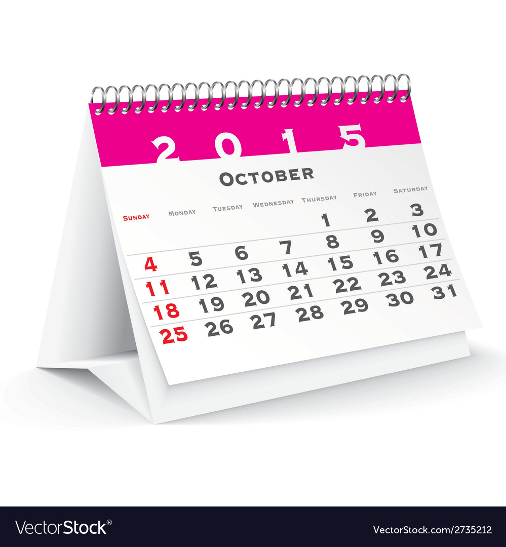 October 2015 desk calendar - vector | Price: 1 Credit (USD $1)