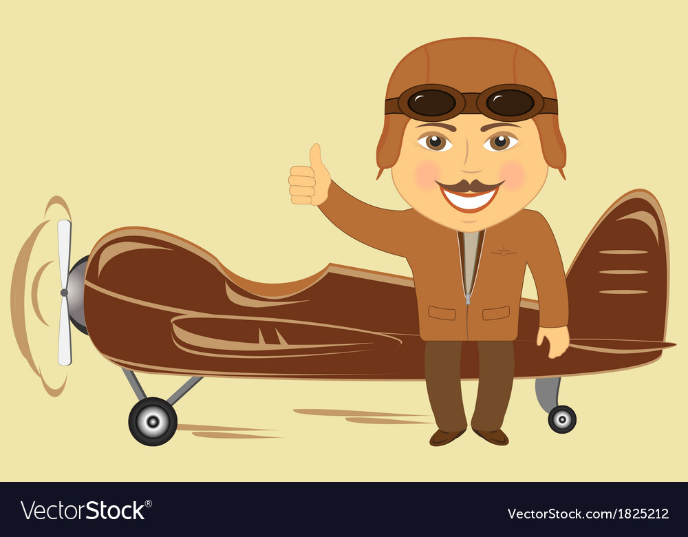 Plane with pilot showing thumb up vector | Price: 1 Credit (USD $1)
