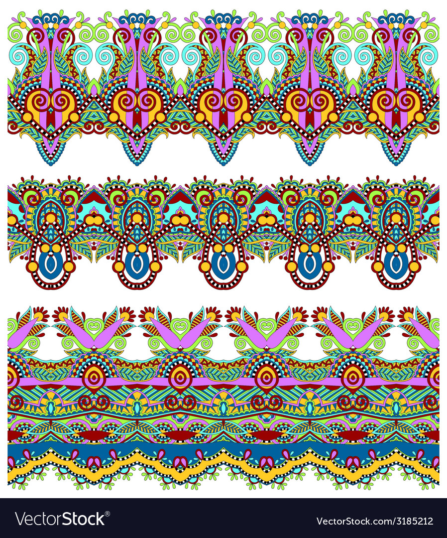 Seamless ethnic floral paisley stripe pattern vector | Price: 1 Credit (USD $1)