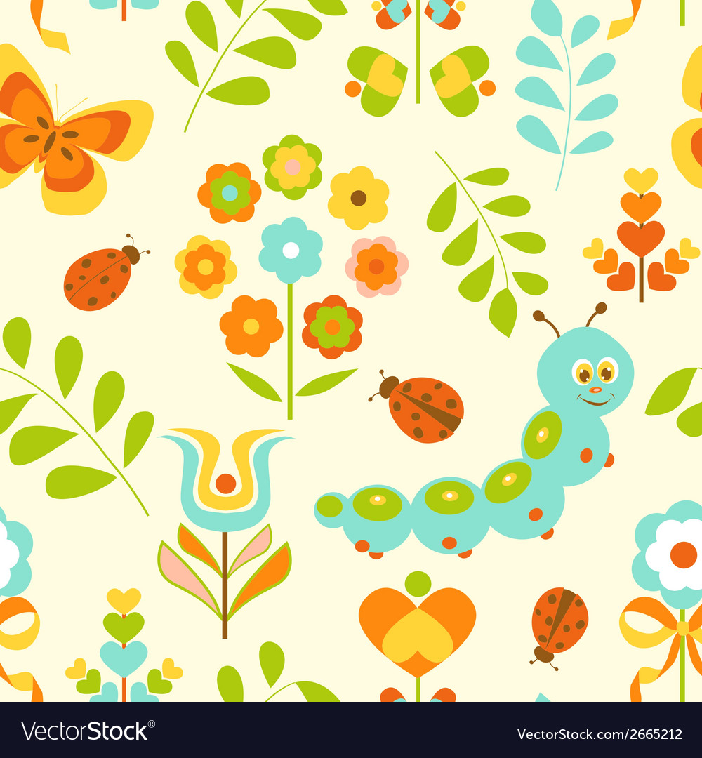 Seamless pattern with cute caterpillar vector | Price: 1 Credit (USD $1)