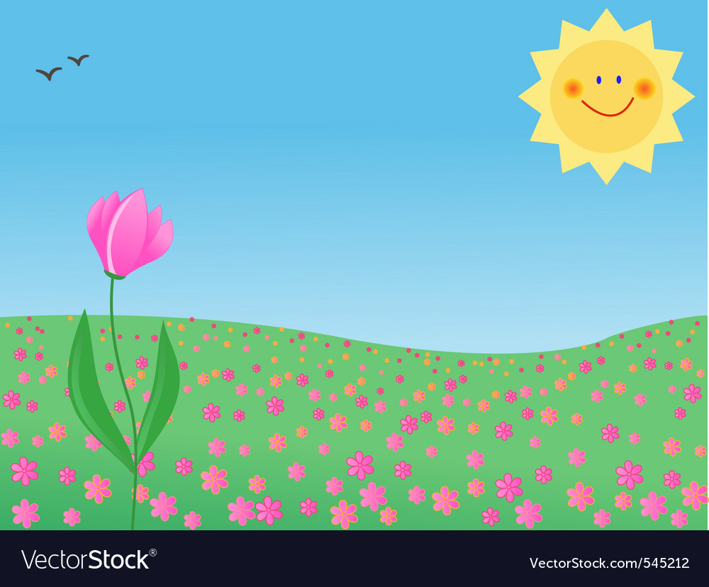 Summer meadow with a single flower vector | Price: 1 Credit (USD $1)
