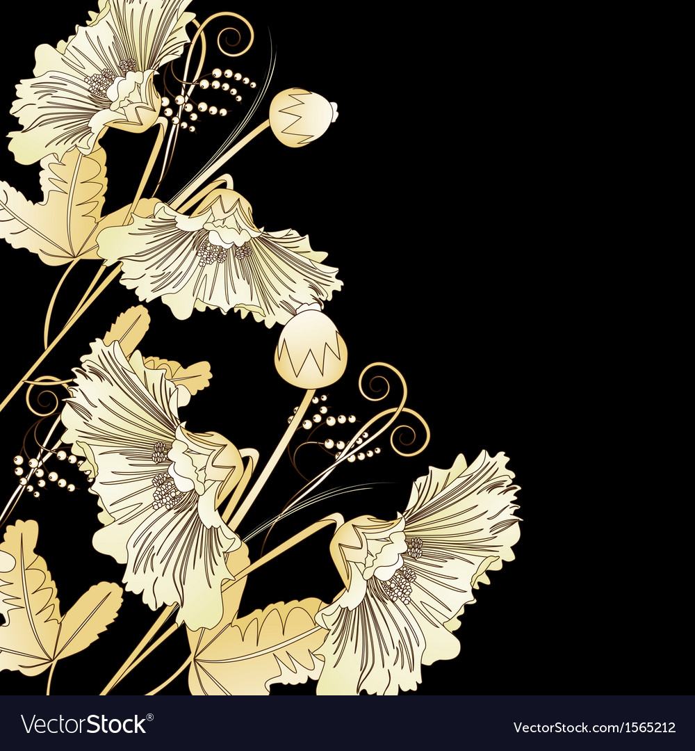Wild flowers on a black vector | Price: 1 Credit (USD $1)