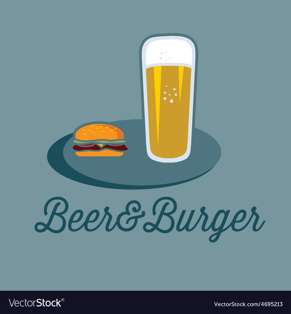 Beer and burger on the table vector | Price: 1 Credit (USD $1)