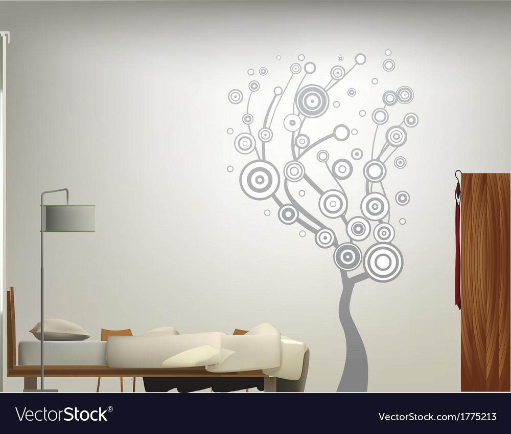Beige bed room vector | Price: 1 Credit (USD $1)