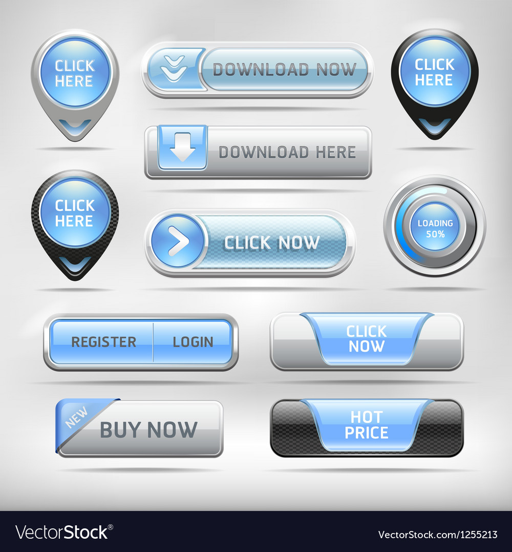 Blue glossy web elements button set vector | Price: 3 Credit (USD $3)