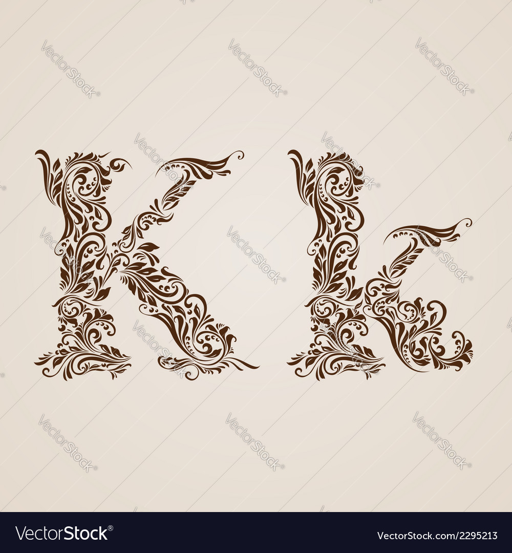 Decorated letter k vector | Price: 1 Credit (USD $1)