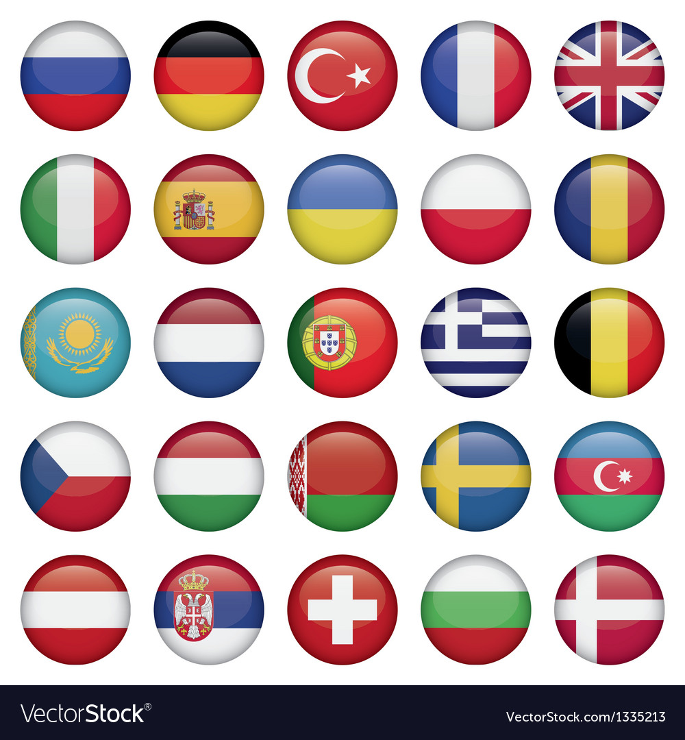 European icons round flags vector | Price: 1 Credit (USD $1)