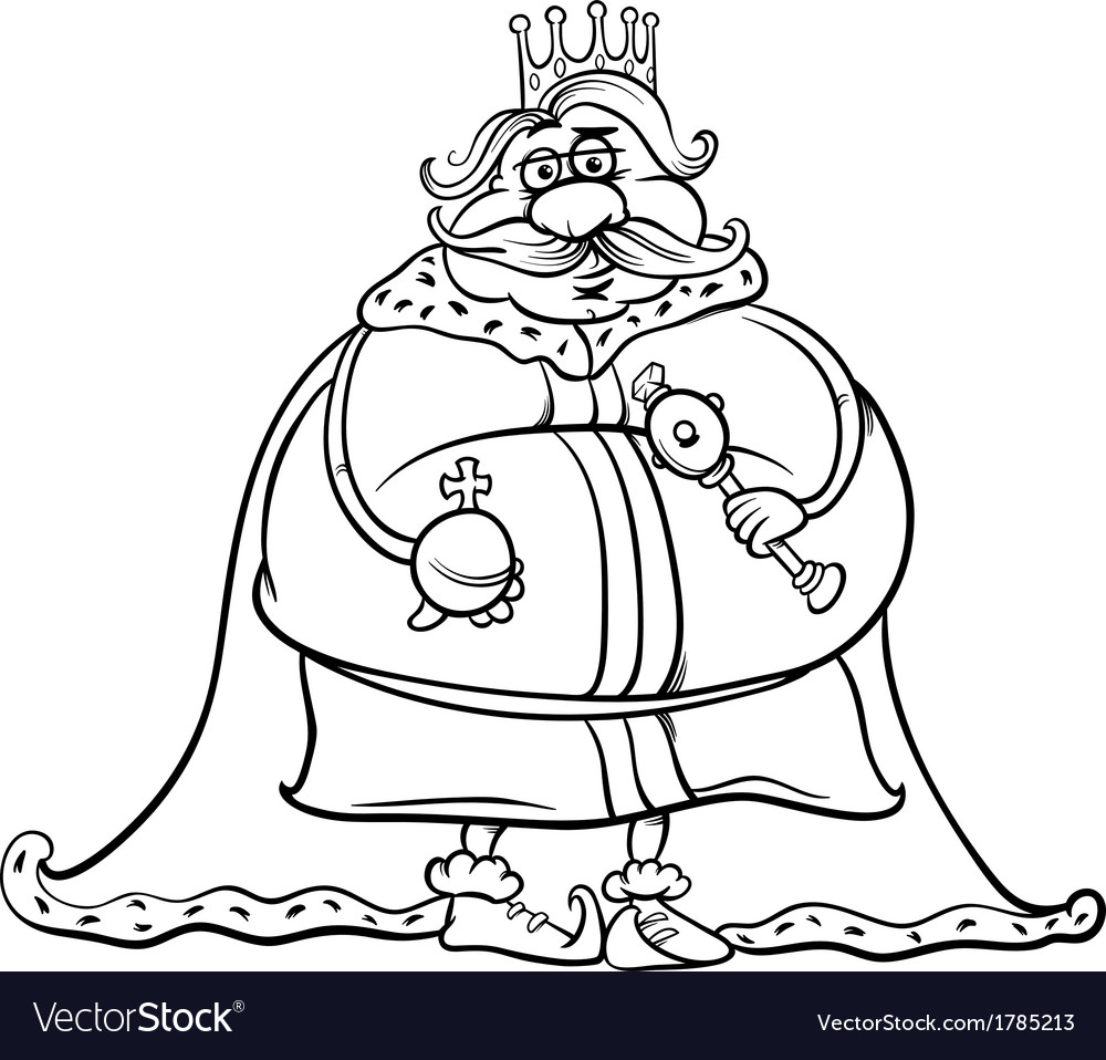 Fat king cartoon coloring page vector | Price: 1 Credit (USD $1)