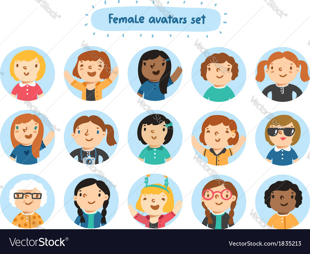 Female avatars vector | Price: 3 Credit (USD $3)