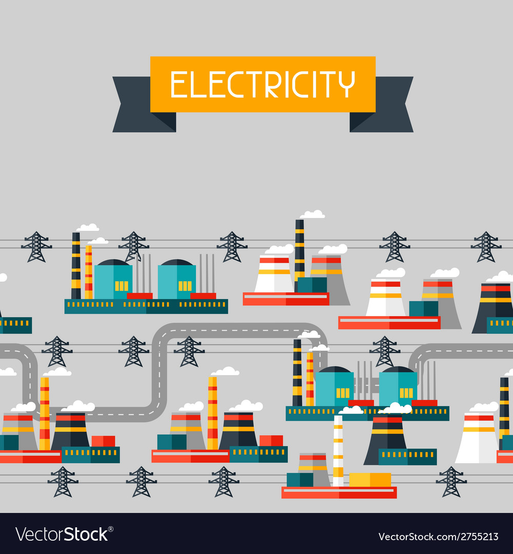 Industry background with industrial power plants vector | Price: 1 Credit (USD $1)