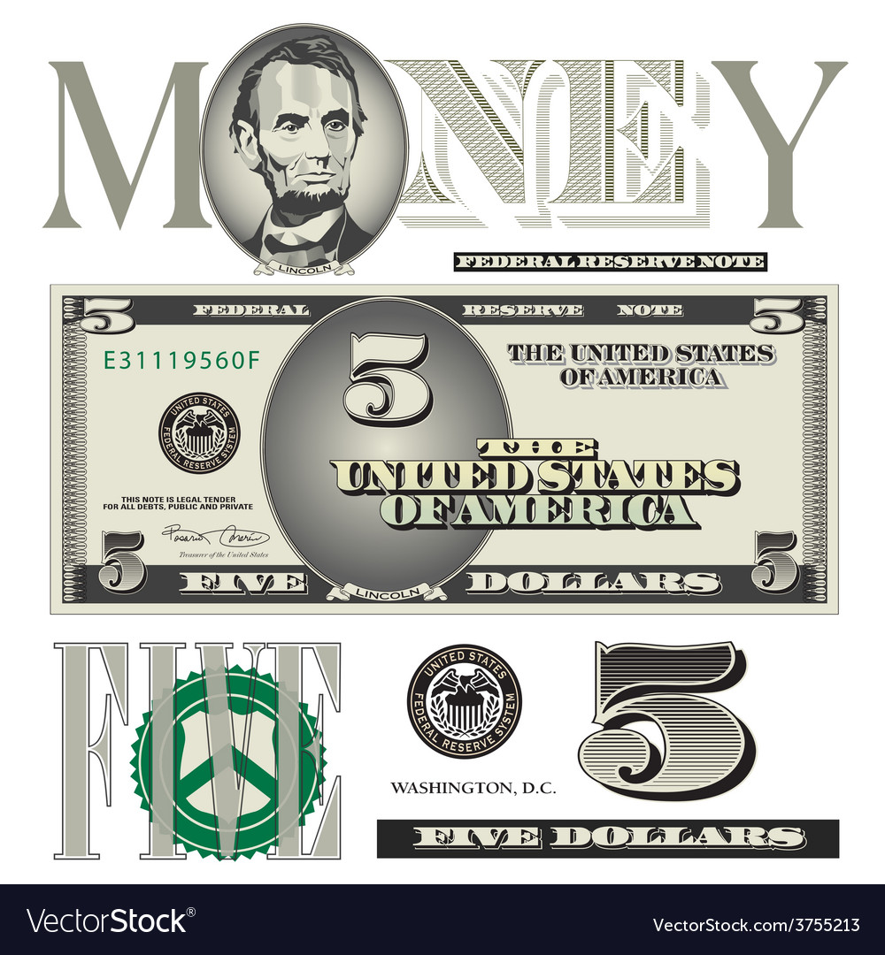 Money 5 dollar vector | Price: 1 Credit (USD $1)