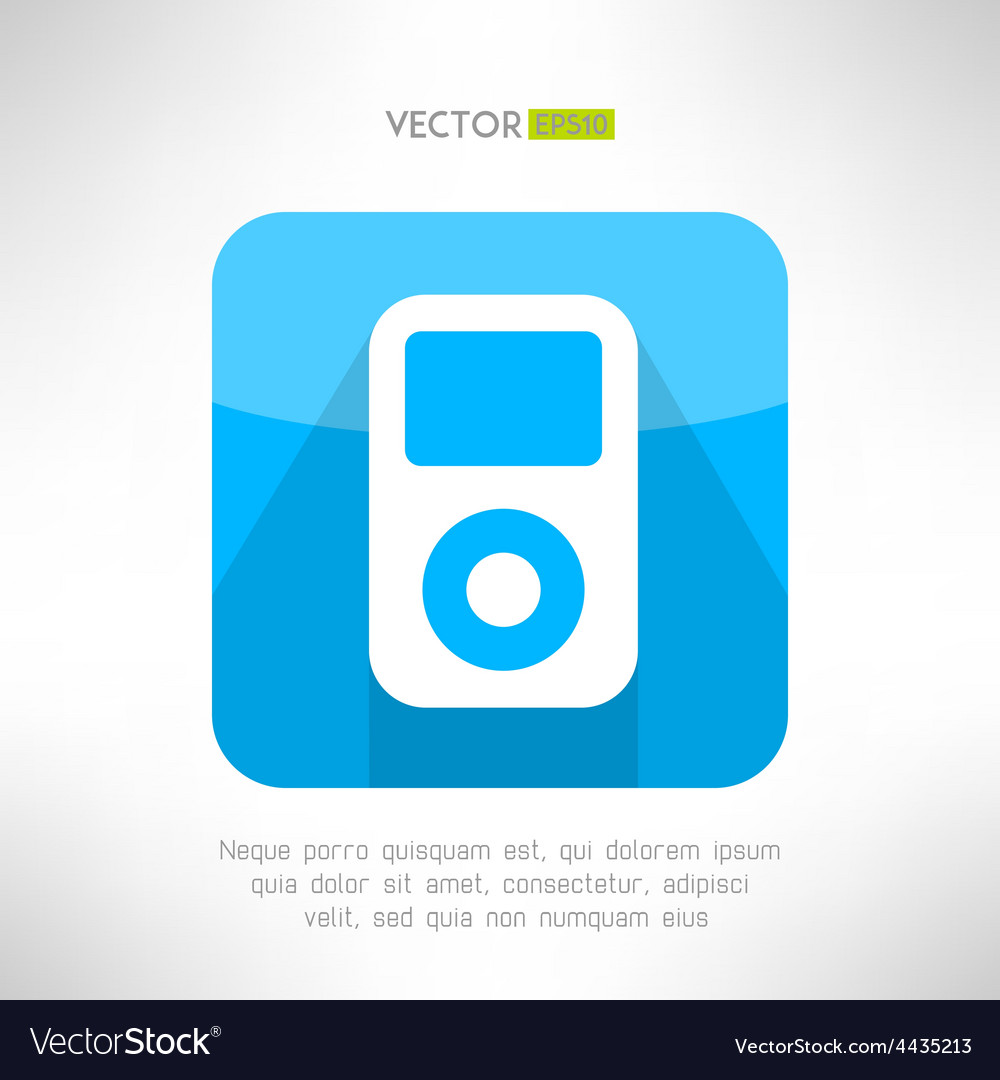 Musical pleer icon in modern flat design portable vector | Price: 1 Credit (USD $1)