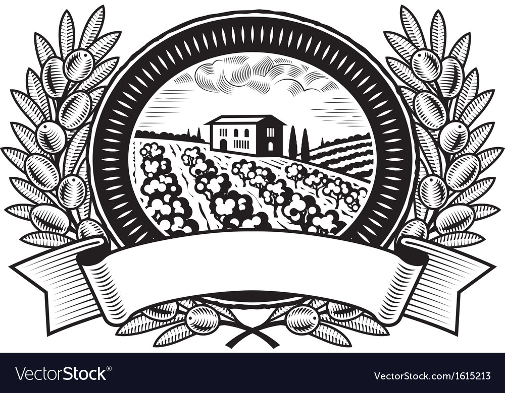 Olive harvest label black and white vector | Price: 1 Credit (USD $1)