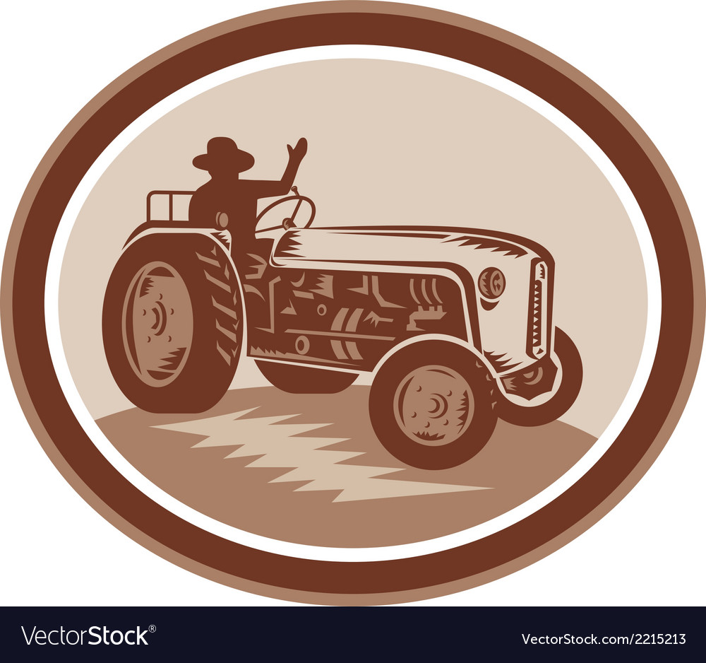 Vintage farm tractor driver waving circle retro vector | Price: 1 Credit (USD $1)