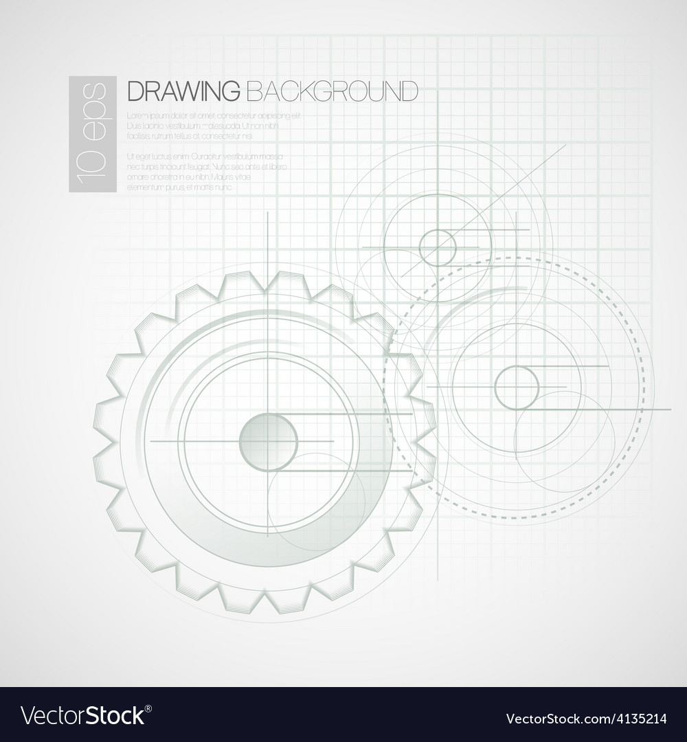 Background with drawing gears vector | Price: 1 Credit (USD $1)