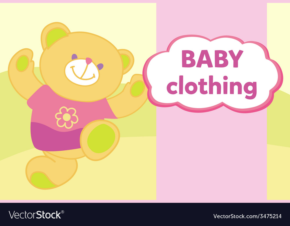 Banner with a teddy bear template for advertising vector | Price: 1 Credit (USD $1)