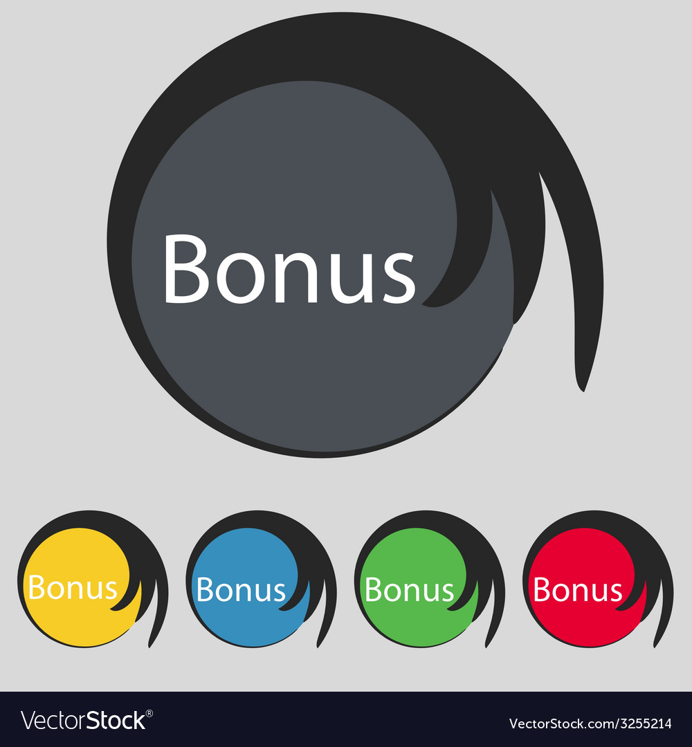 Bonus sign icon special offer label set of colored vector | Price: 1 Credit (USD $1)