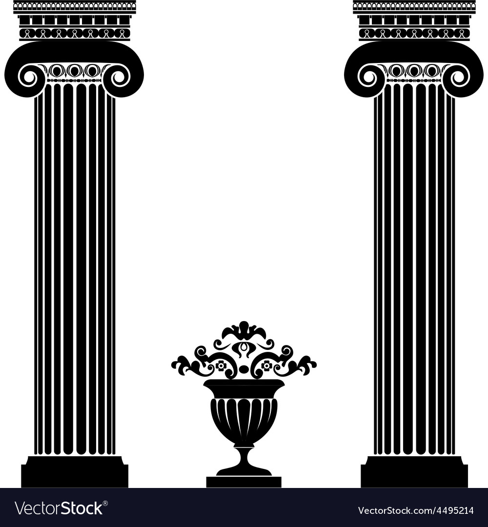 Classical greek or roman columns and vase vector | Price: 1 Credit (USD $1)