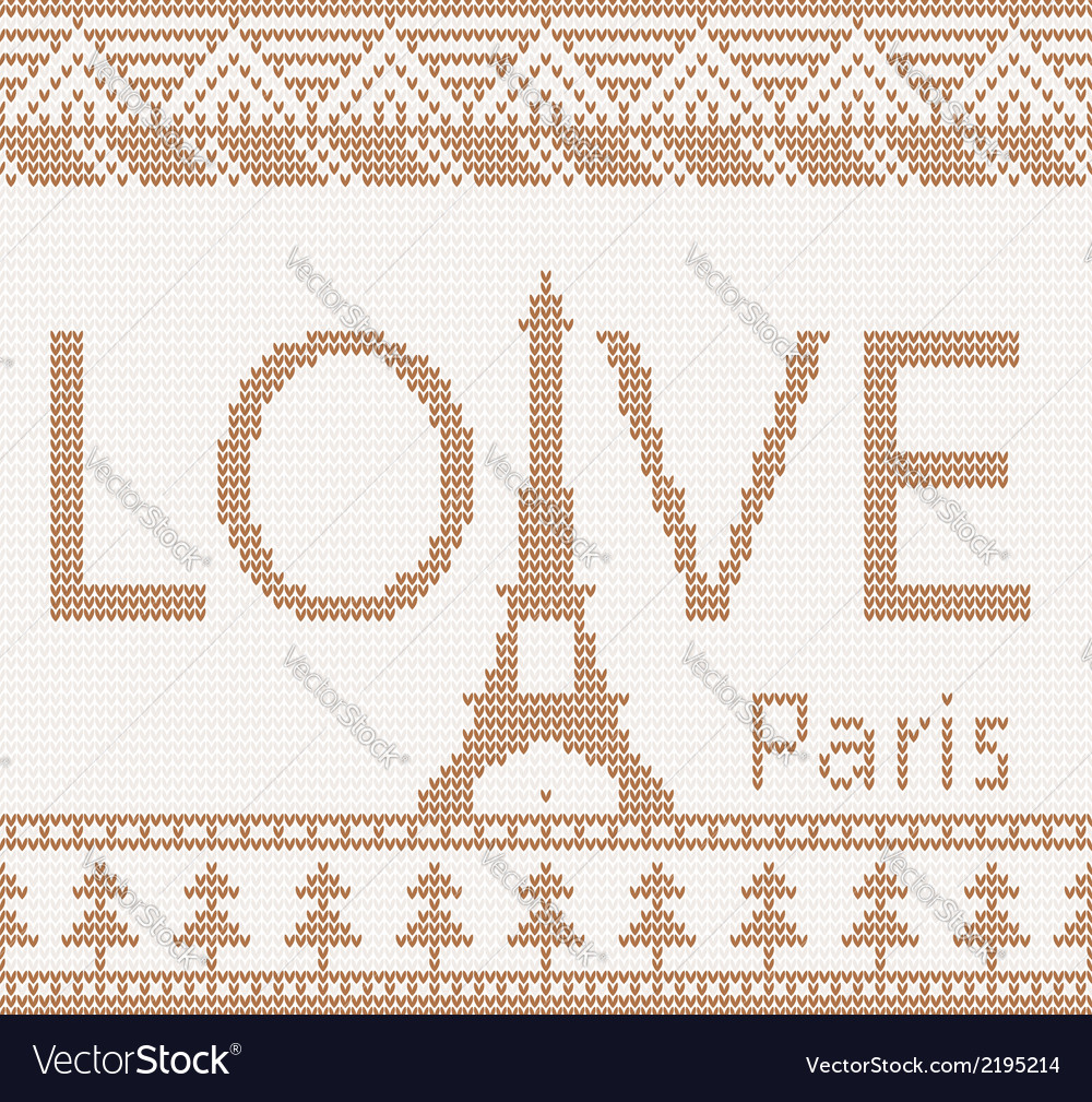 Eiffel tower scandinavian style seamless knitted p vector | Price: 1 Credit (USD $1)