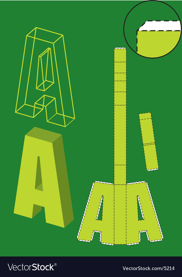 Fold-up letter a vector | Price: 1 Credit (USD $1)