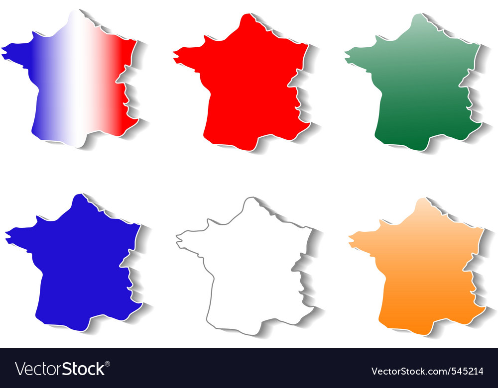 Form of france map stickers set vector | Price: 1 Credit (USD $1)