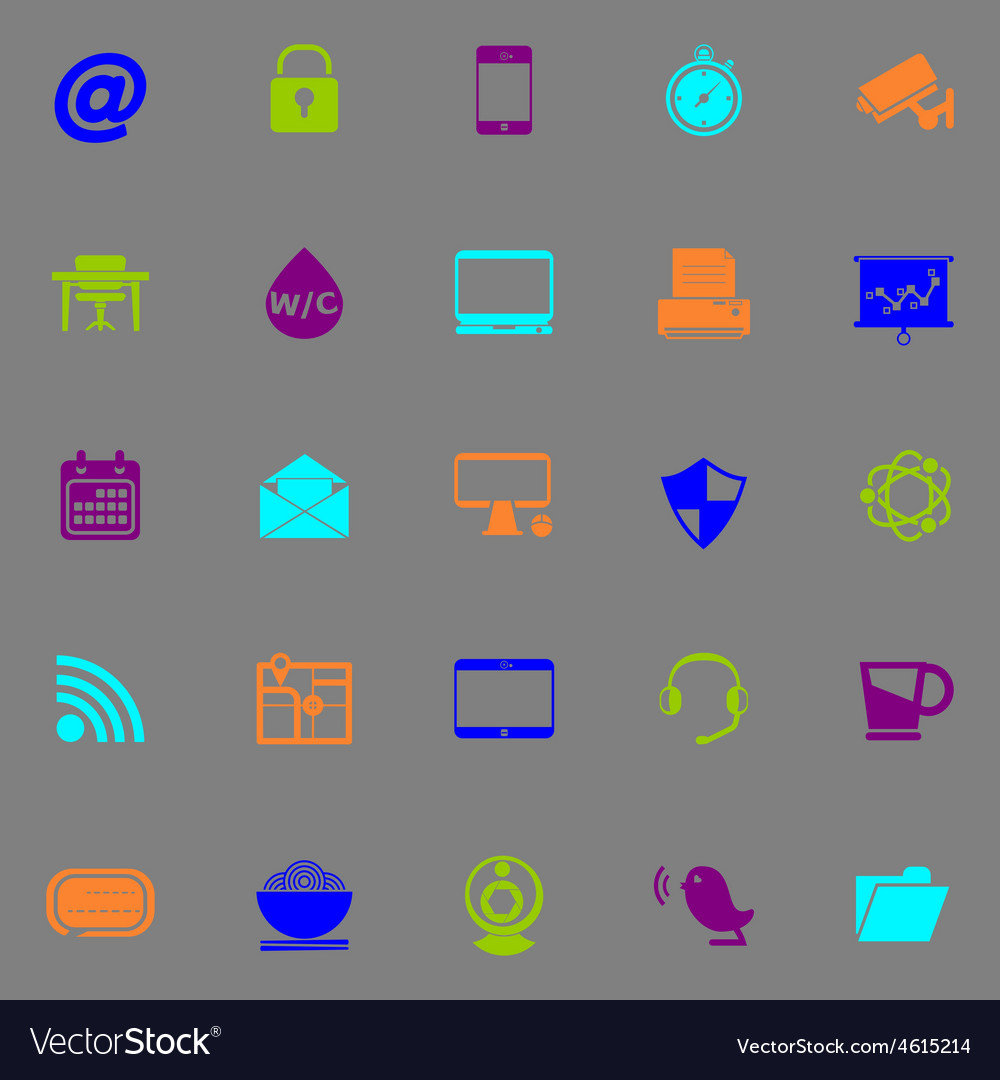 Internet cafe icons fluorescent color on gray vector | Price: 1 Credit (USD $1)
