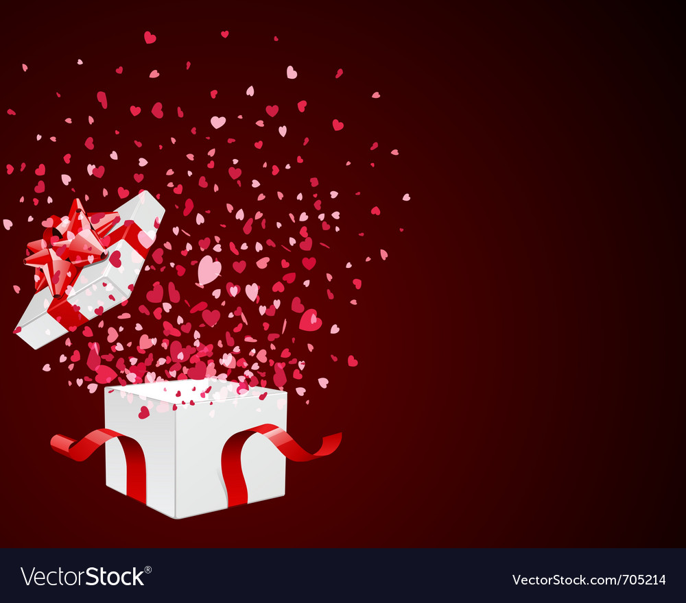 Open gift present box with fly hearts vector   Price: 1 Credit (USD $1)