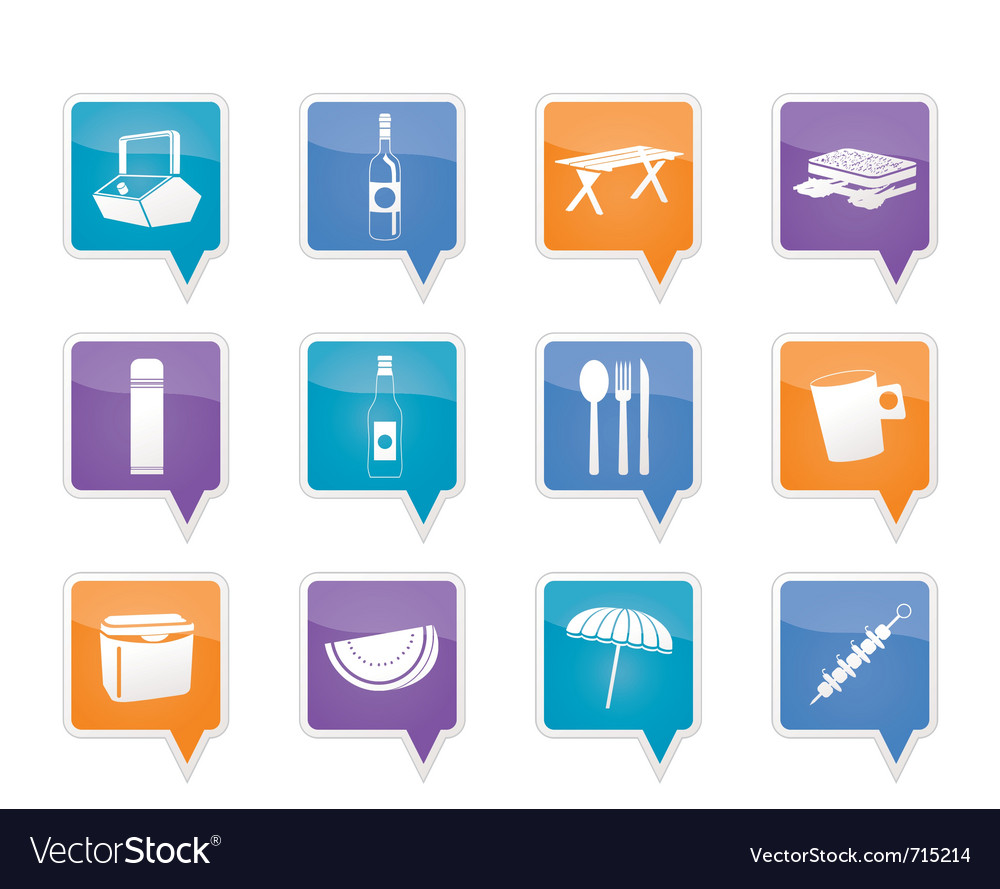 Picnic and holiday icons vector | Price: 1 Credit (USD $1)