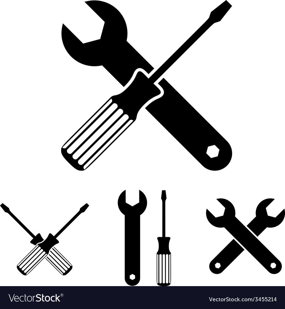 Repair icon set with wrenches and screwdrivers vector | Price: 1 Credit (USD $1)