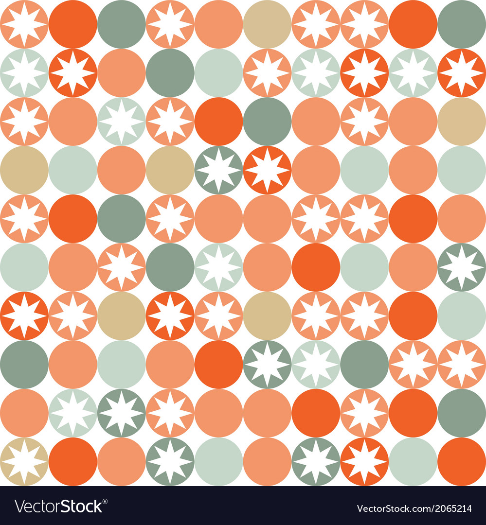 Retro seamless pattern with circles and stars vector | Price: 1 Credit (USD $1)