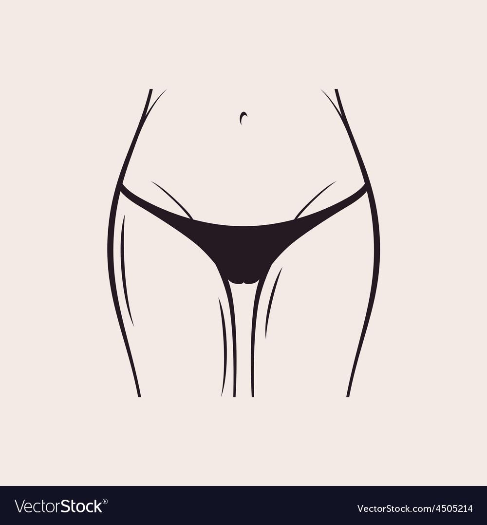 Sexy black panties icon women thong slim figure vector | Price: 1 Credit (USD $1)