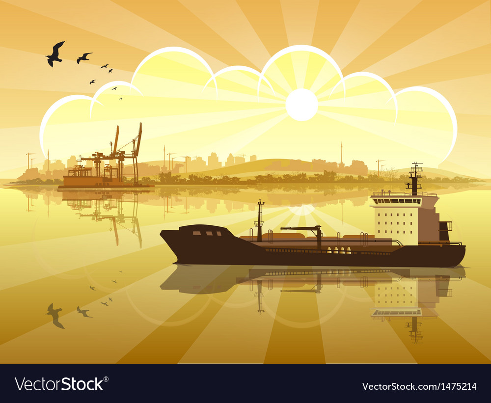 Ship on the background of the coast vector | Price: 1 Credit (USD $1)