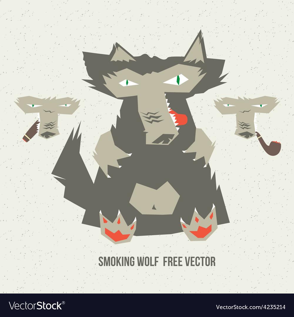 Smoking wolf vector | Price: 1 Credit (USD $1)