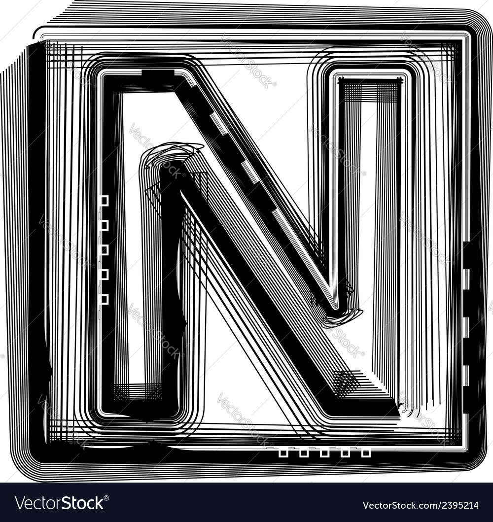 Striped font letter n vector | Price: 1 Credit (USD $1)