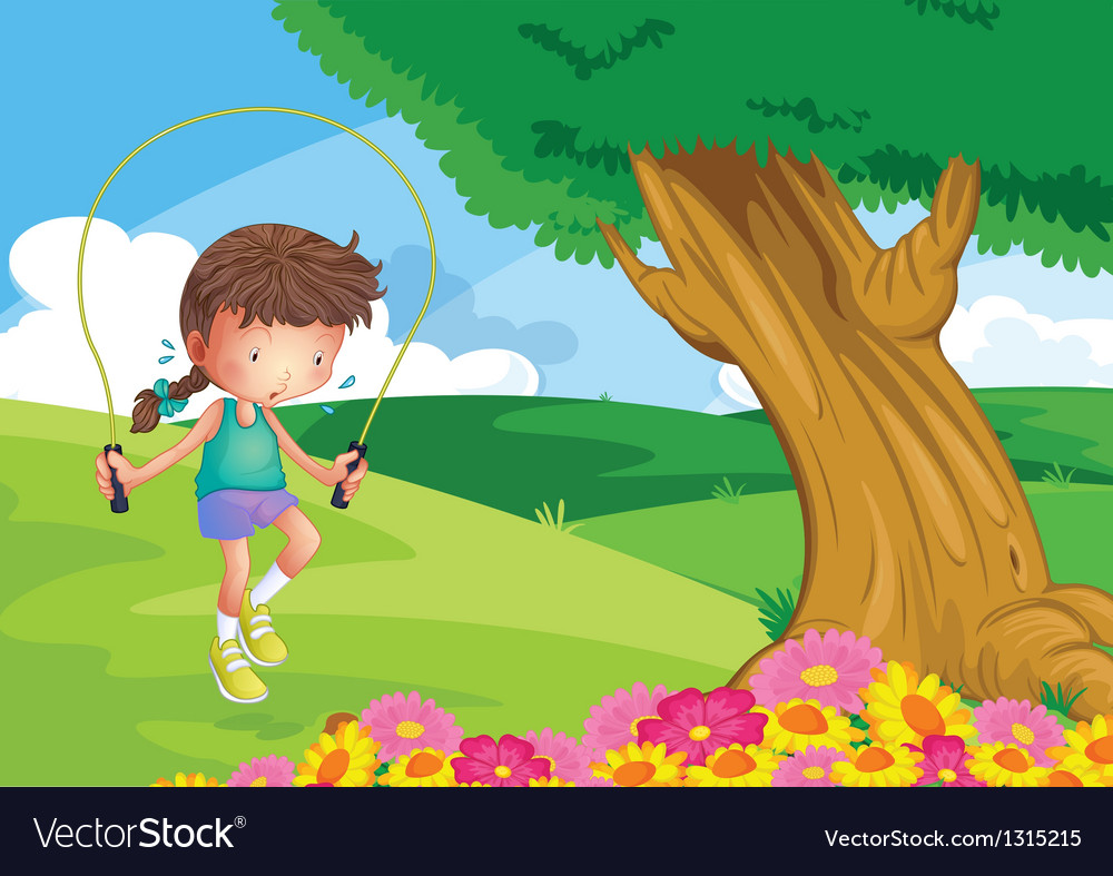 A girl playing jumping rope at the hill vector | Price: 1 Credit (USD $1)