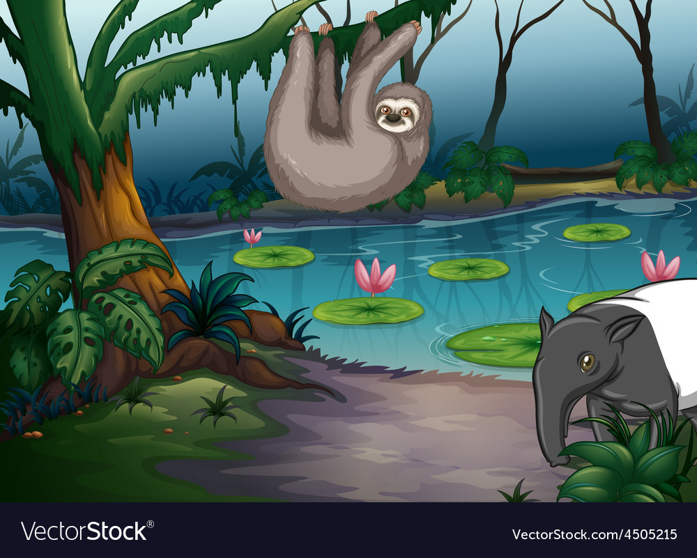 Animals and pond vector | Price: 3 Credit (USD $3)