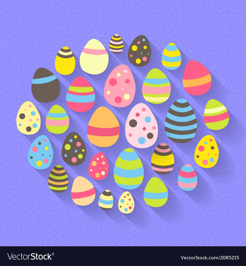 Easter eggs icon set on a purple vector | Price: 1 Credit (USD $1)