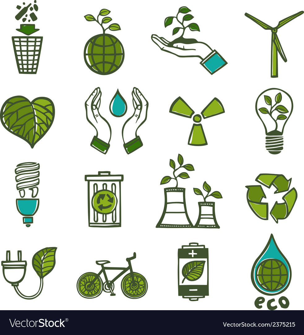 Ecology and waste icons set color vector | Price: 1 Credit (USD $1)