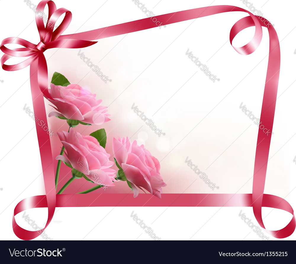 Holiday background colorful flowers with pink bow vector | Price: 3 Credit (USD $3)
