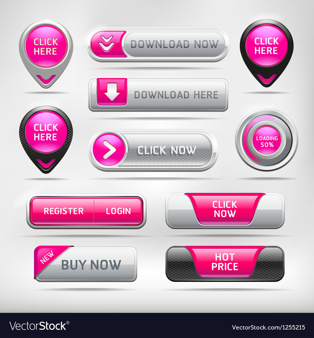 Pink glossy web elements button set vector | Price: 3 Credit (USD $3)