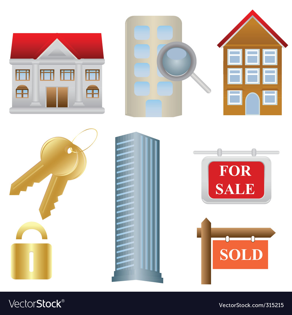 Real estate icons vector | Price: 3 Credit (USD $3)