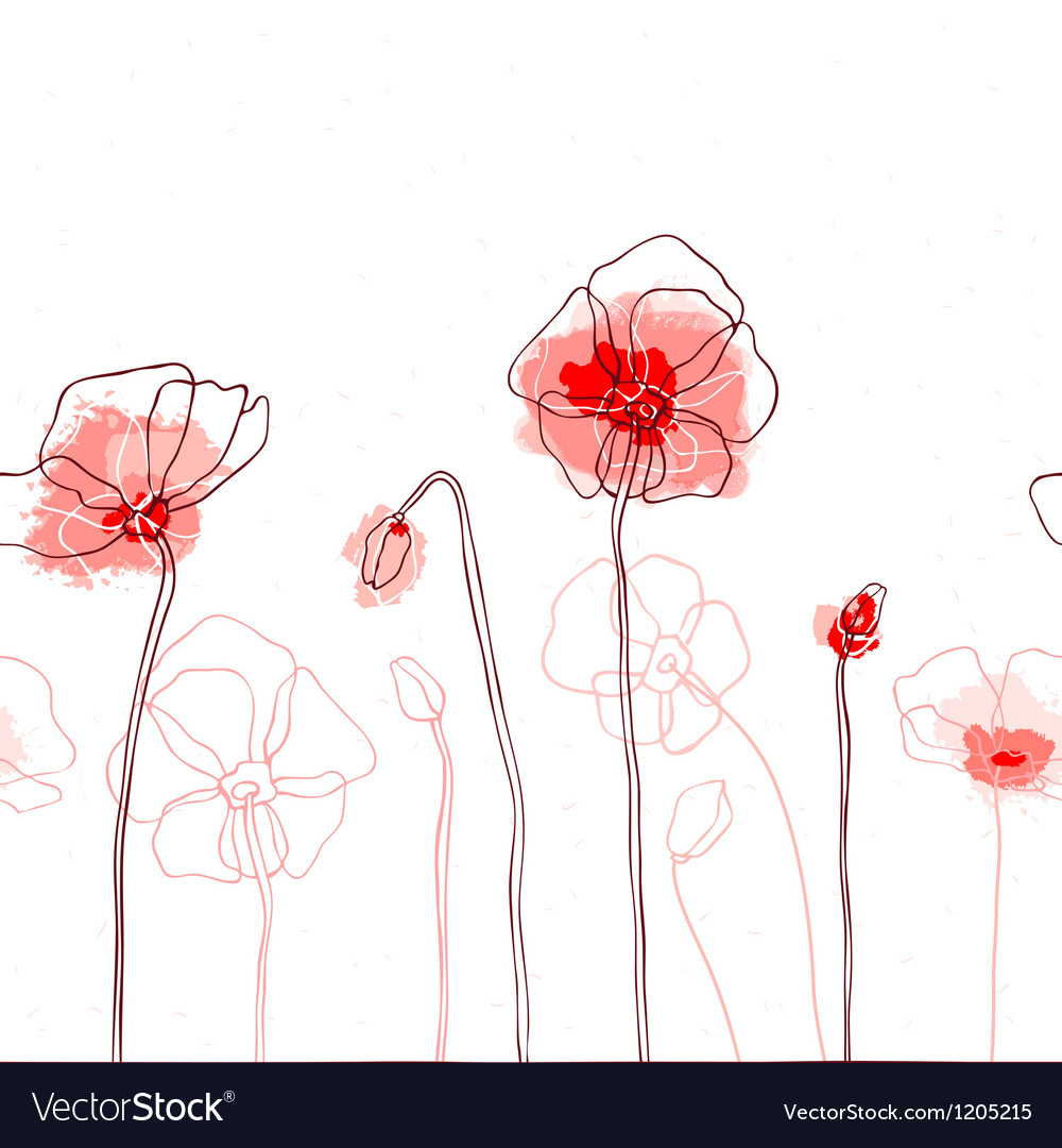 Red poppies on a white background vector | Price: 1 Credit (USD $1)
