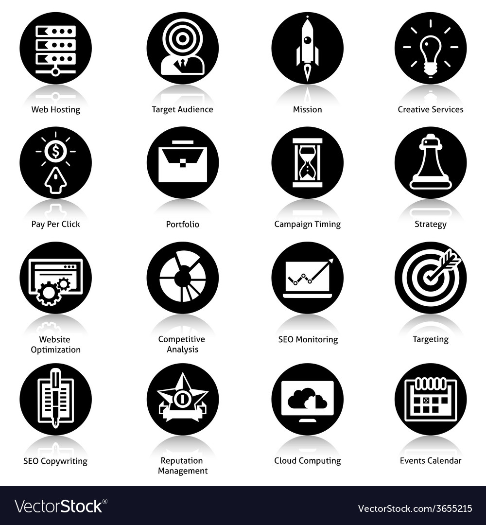 Seo icons black vector | Price: 1 Credit (USD $1)