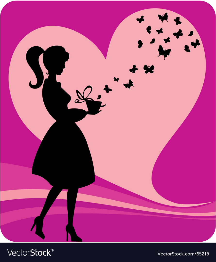 Vintage girl with romantic gift vector | Price: 1 Credit (USD $1)