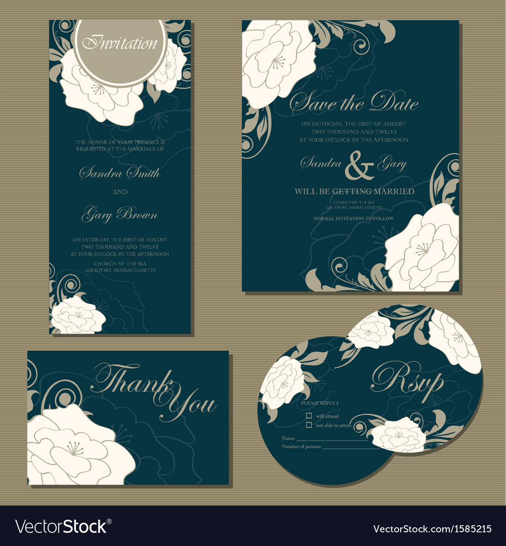 Wedding floral cards set vector | Price: 1 Credit (USD $1)