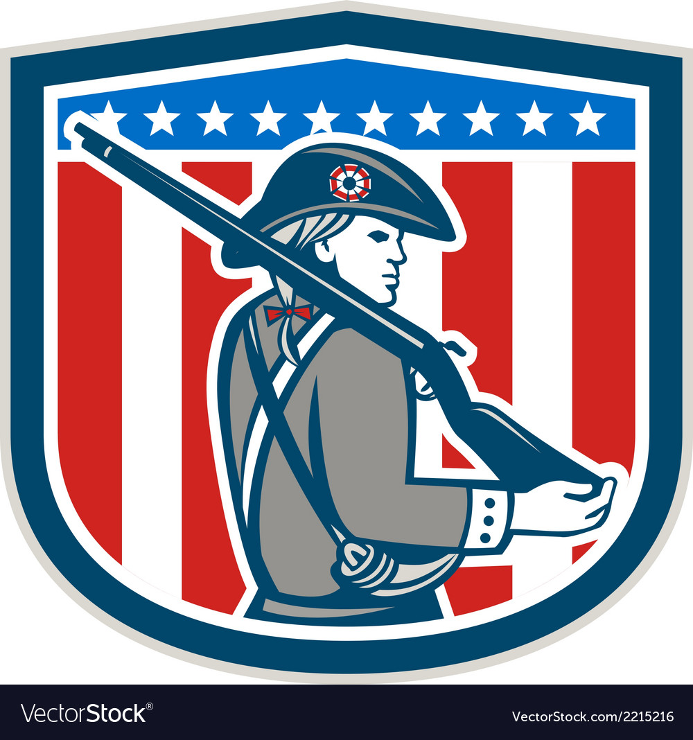 American patriot minuteman holding musket rifle vector | Price: 1 Credit (USD $1)